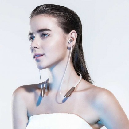 1MORE E1024BT Stylish Dual-dynamic  Driver BT In-Ear Headphones Collar Earphone Neckband Jaws Wireless BT4.2Headphone Neck Halter Style Music Headset Earphone Hands-free for Smartphones (Gold)